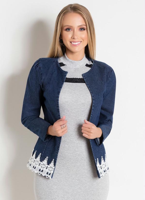 Jaqueta Jeans (Azul) com Guipir Moda Evangélica