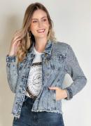 Jaqueta Jeans Claro com Strass e Bolsos Sawary