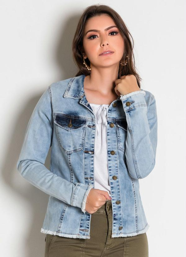 Jaqueta (Jeans Clara) com Botões e Desfiados