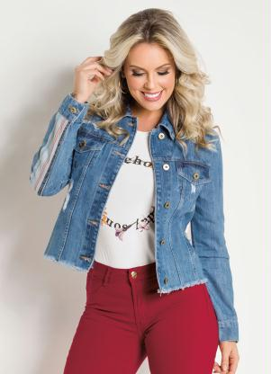 Jaqueta (Jeans Clara) Listras Coloridas Sawary