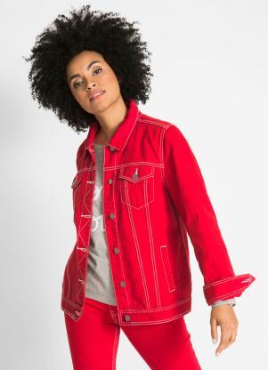 Jaqueta Jeans com Contraste (Vermelho)
