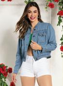 Jaqueta Jeans com Franzidos e Bolsos Sawary