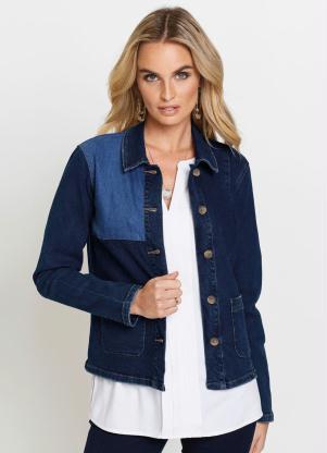 Jaqueta Jeans com Recortes (Azul Médio)