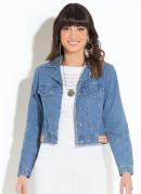 Jaqueta Jeans Quintess com Franjas nas Costas