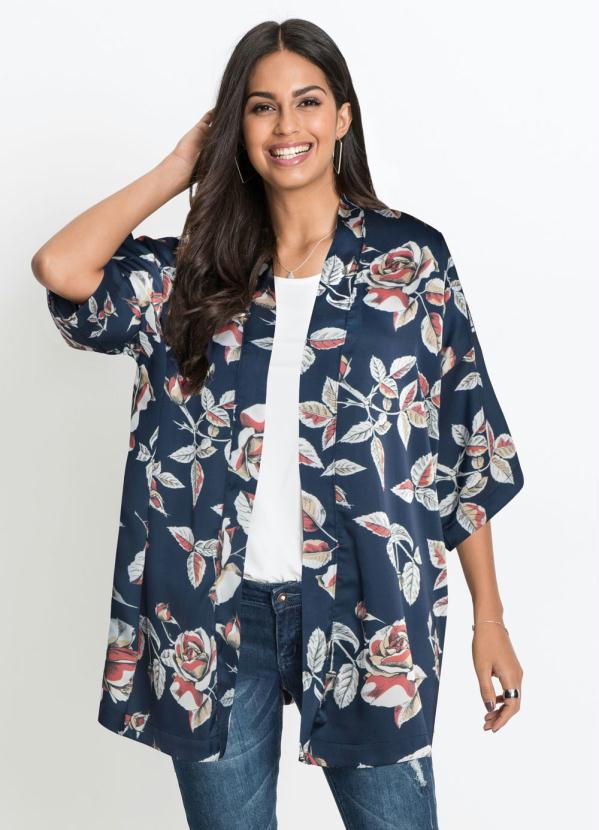 Kimono Acetinado Estampado (Floral Marinho)