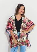 Kimono Floral Amplo com Abertura Lateral