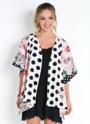 Kimono Floral Poá Amplo com Abertura Lateral