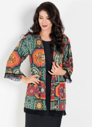 Kimono Moda Evangélica (Mandalas) com Franjas