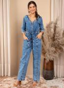 Macacão Jeans Cintura Ajustável e Bolsos
