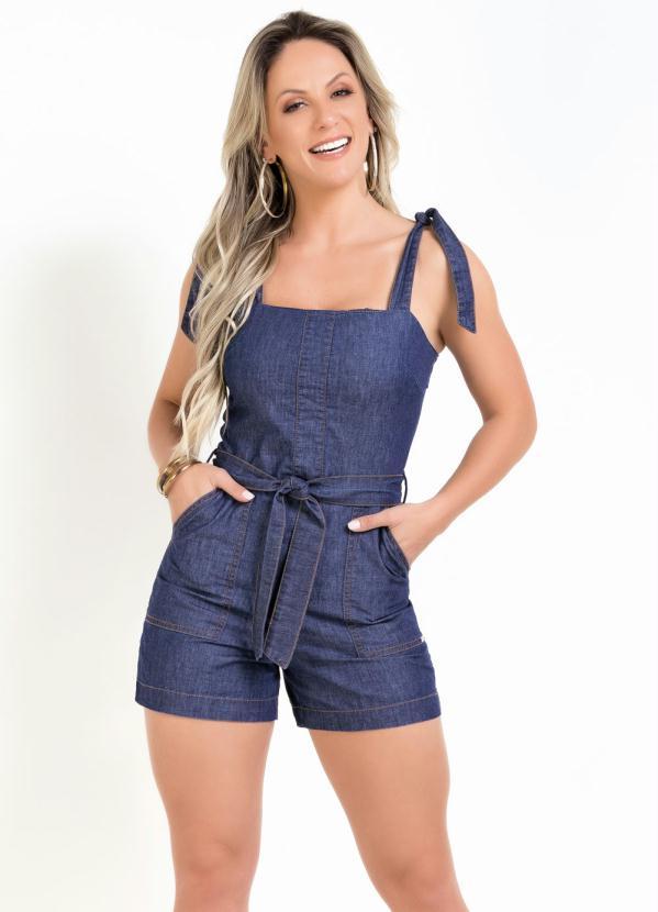 Macaquinho (Jeans) com Alças e Amarração Sawary