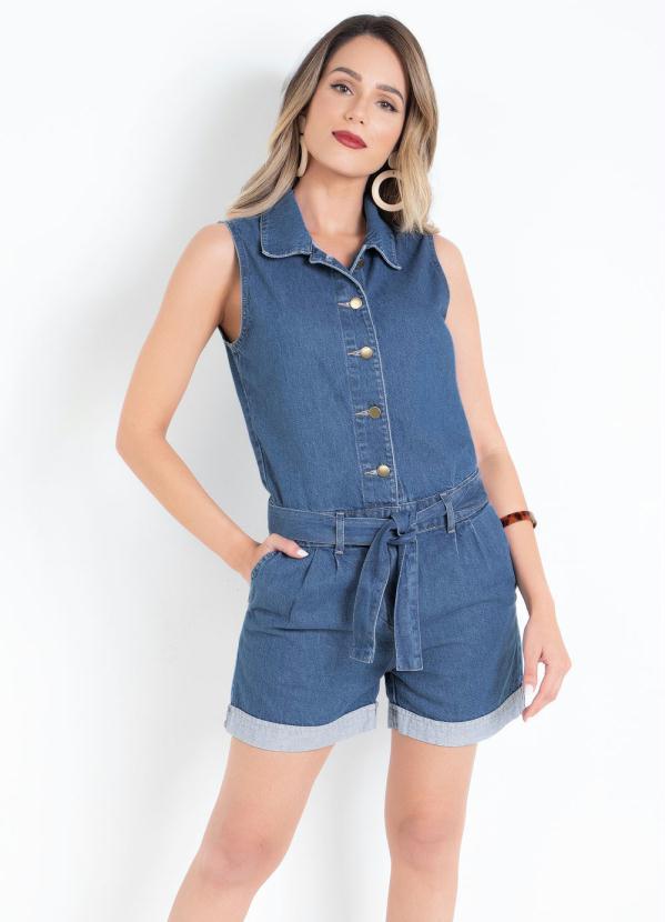 Macaquinho (Jeans) Sawary com Botões e Amarração