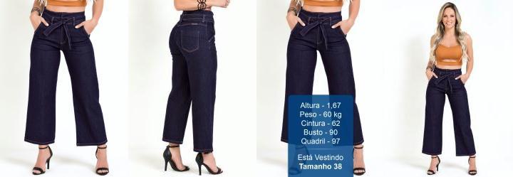 Calça Pantacourt Clochard Jeans Escura Sawary