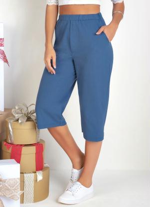 Calça Pantacourt com Bolsos (Azul)
