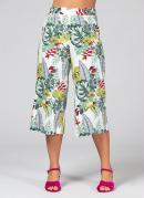 Calça Pantacourt Floral com Elástico na Cintura