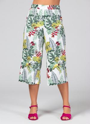 Calça Pantacourt (Floral) com Elástico na Cintura