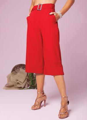 Calça Pantacourt (Vermelha) Acompanha Cinto