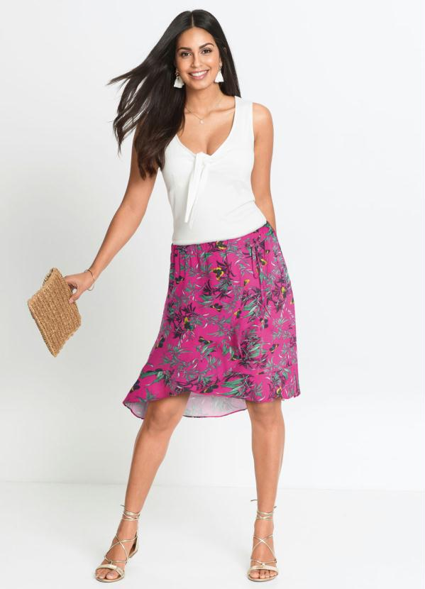 Saia com Amarração Lateral (Floral Rosa)