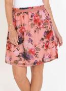 Saia com Babados na Cintura Floral Rosa