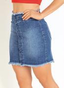 Saia Curta Jeans com Botões Funcionais Sawary