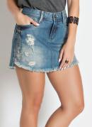 Saia Sawary Jeans com Detalhe Lateral