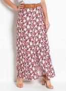 Saia Longa Floral com Fenda Moda Evangélica