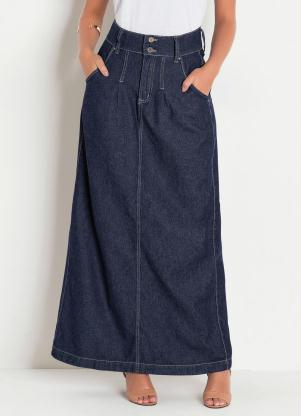 Saia (Jeans Escuro) Longa Moda Evangélica