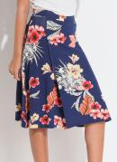 Saia Azul/Floral com Transpasse Frontal Quintess