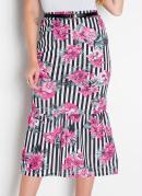Saia com Babado Floral Moda Evangélica