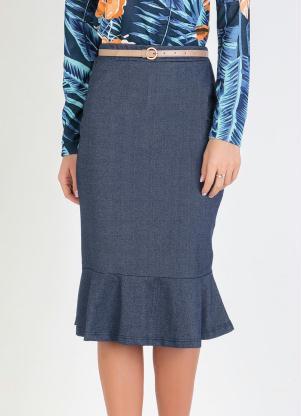 Saia com Babado na Barra (Azul) Moda Evangélica