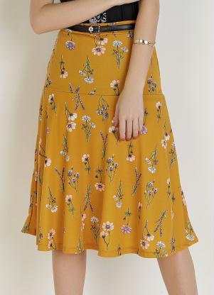 Saia com Elástico (Floral Amarela) Moda Evangélica
