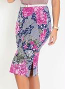 Saia com Fendas Floral Rosa Moda Evangélica