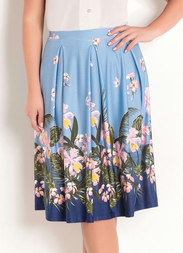 Saia com Prega Moda Evangélica (Floral Azul)