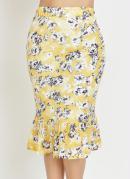 Saia Floral Amarela com Babado Moda Evangélica