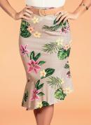 Saia Floral Bege com Assimetria Moda Evangélica