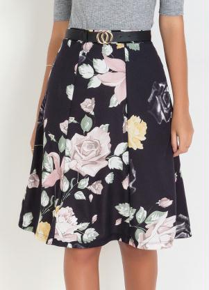 Saia (Floral) Moda Evangélica Evasê