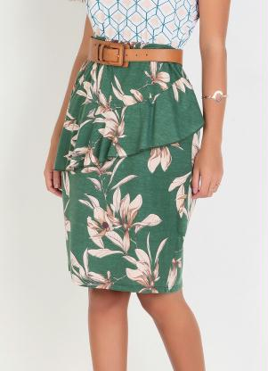 Saia (Floral Verde) Moda Evangélica