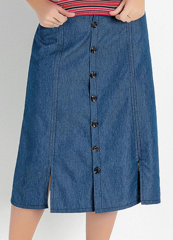 Saia (Jeans) com Botões Moda Evangélica