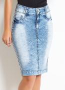 Saia Jeans com Listra Lateral Moda Evangélica