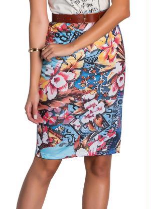 Saia Lápis (Floral Azul) Moda Evangélica