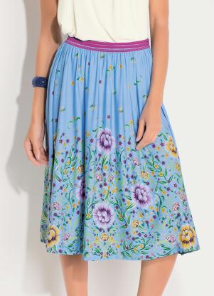 Saia Midi (Barrado Floral Azul) com Cintura Alta