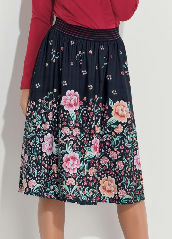 Saia Midi (Floral Barrado) com Cintura Alta