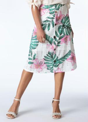 Saia Midi (Floral Tropical) Cós Largo com Botões
