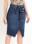 Saia Midi Jeans com Amarração e Botões Sawary