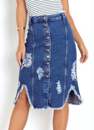 Saia Midi (Jeans) Destroyed com Botões Sawary