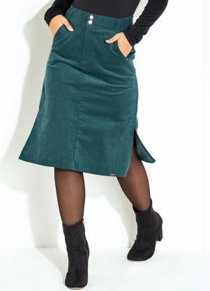 4eb1c5436 Saia Midi Quintess Verde com Bolsos Funcionais - SouLojista