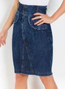 Saia Moda Evangélica com Recortes Jeans Escuro