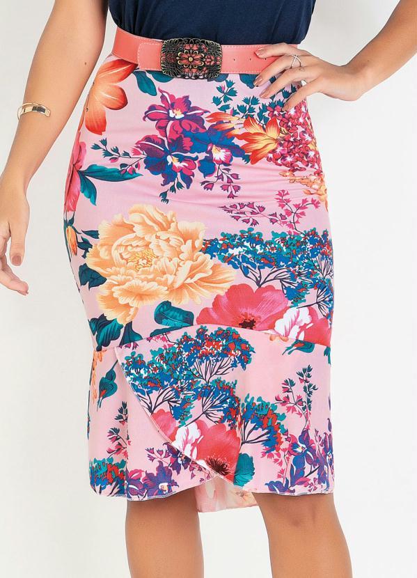 Saia Mullet (Floral Rosa) Moda Evangélica