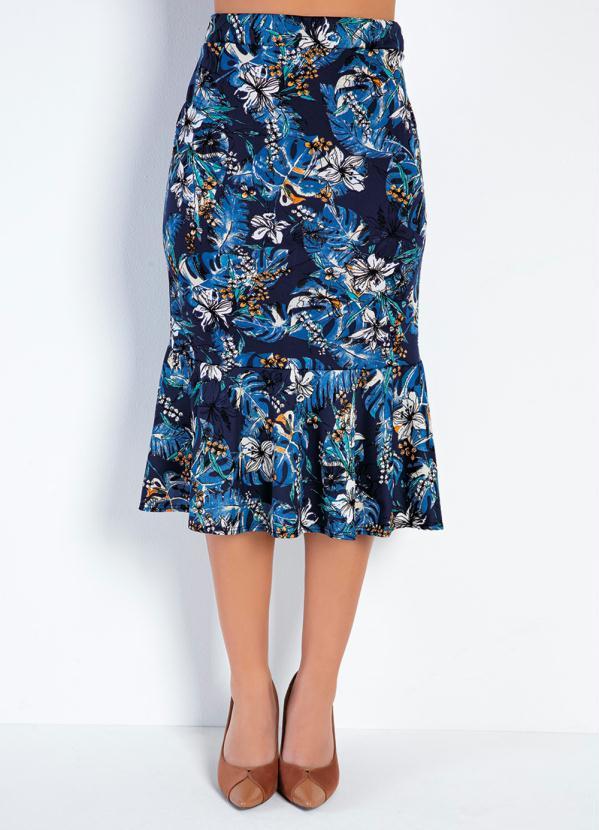 Saia Peplum (Floral Azul) Moda Evangélica