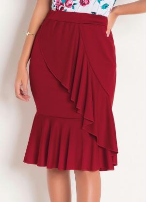 Saia (Vermelha) com Babados Moda Evangélica