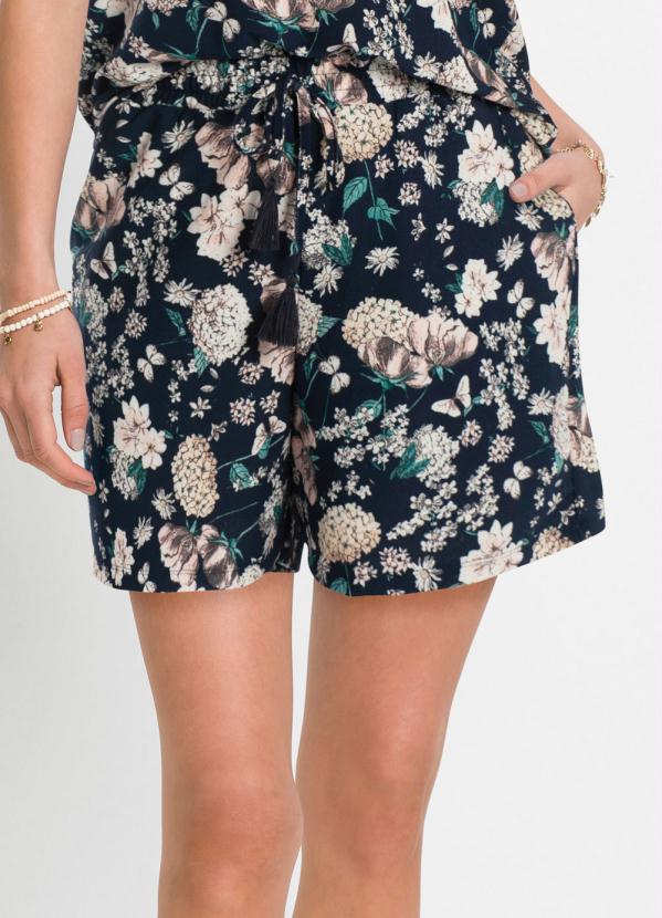 Short de Malha com Cordão (Floral Azul)